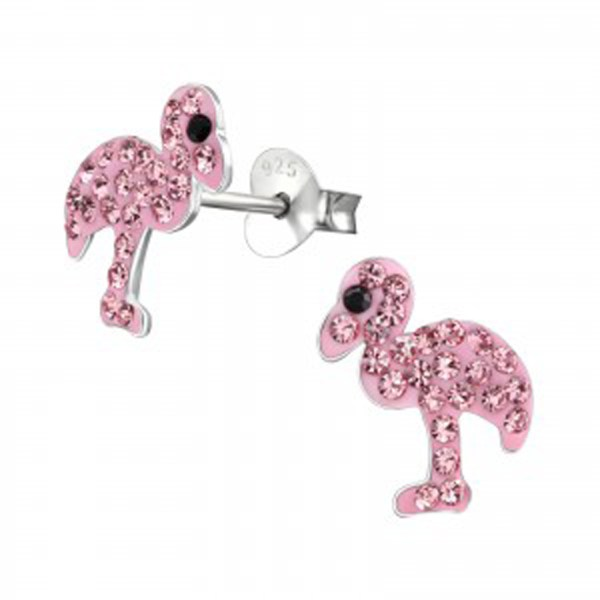 Girls sterling silver pink crystal flamingo necklace and earrings set-5041