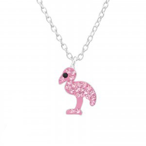 Girls sterling silver pink Swarovski crystal flamingo necklace