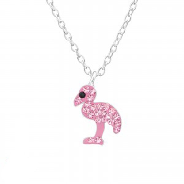 Girls sterling silver pink crystal flamingo necklace and earrings set-5040