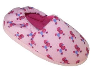 Girls pink pull on Poodle slippers