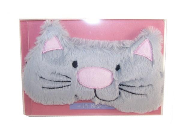 Childs grey furry cat eye mask-5227