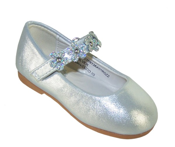 Infant girls silver occasion shoes with sparkly flowers-0