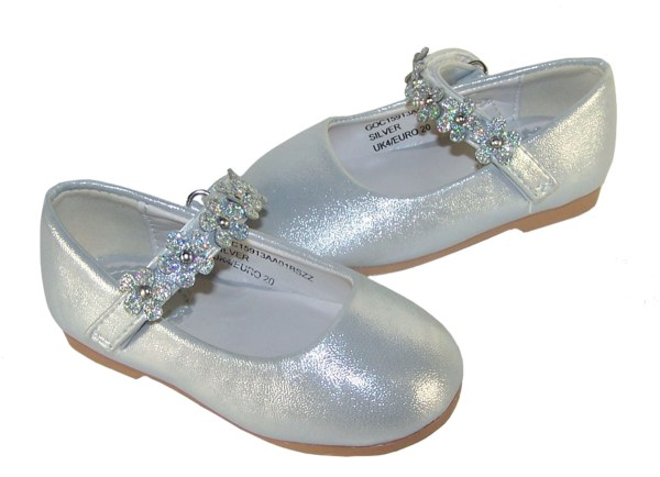 Infant girls silver occasion shoes with sparkly flowers-5264
