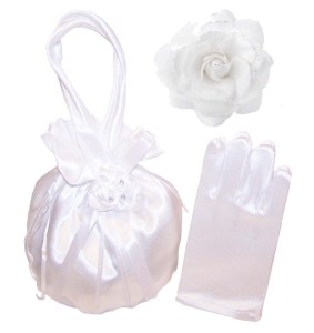 Girls white satin drawstring dolly bag and gloves set