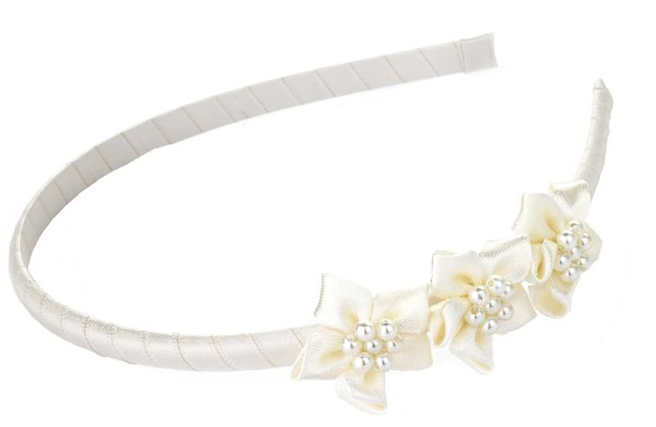 Girls ivory flower satin covered headband-0