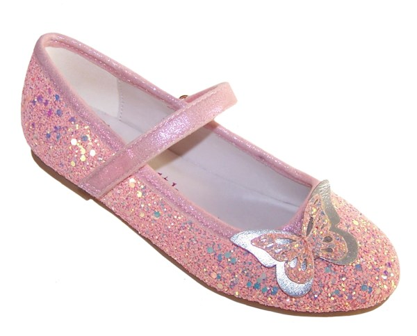Girls pink sparkly glitter ballerina party shoes with butterfly trim-0