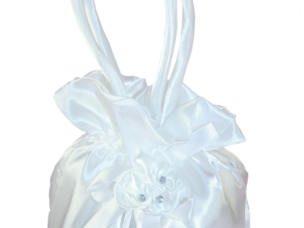 Girls white satin drawstring dolly bag for special occasions-5324