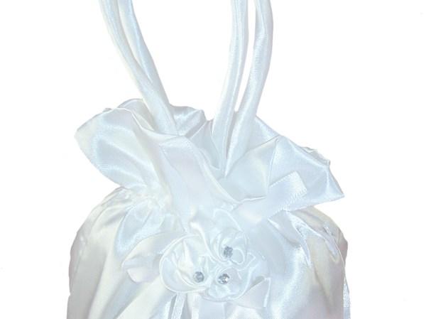Girls white satin drawstring dolly bag and gloves set-5350