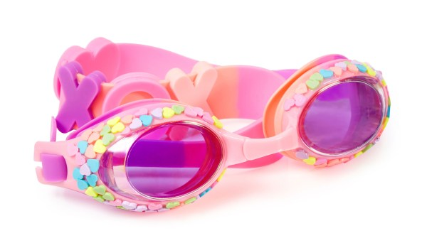 Girls pink traditional shaped candy heart fun swimming goggles-0