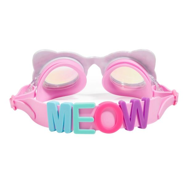 Girls fun cat shaped pink sparkly swimming goggles-5414