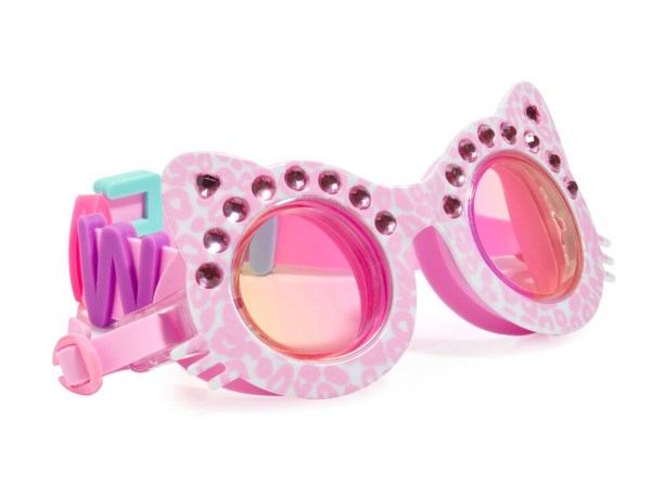 Girls fun cat shaped pink sparkly swimming goggles-0