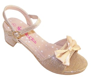 Girls pale gold sparkly party heeled sandals