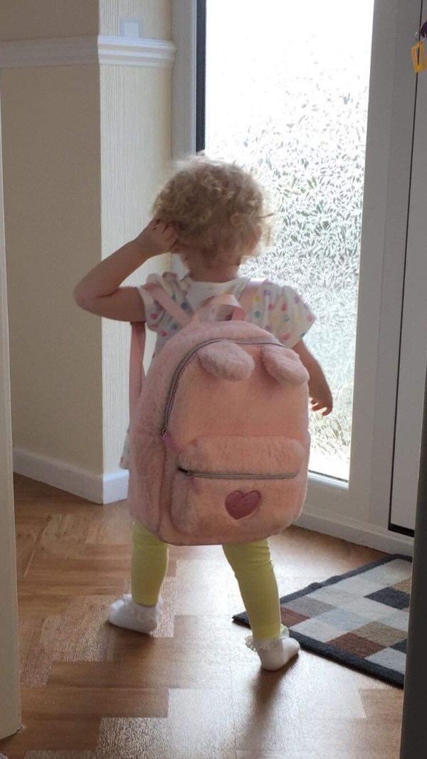 Girls pink faux fur sparkly bunny backpack-5531