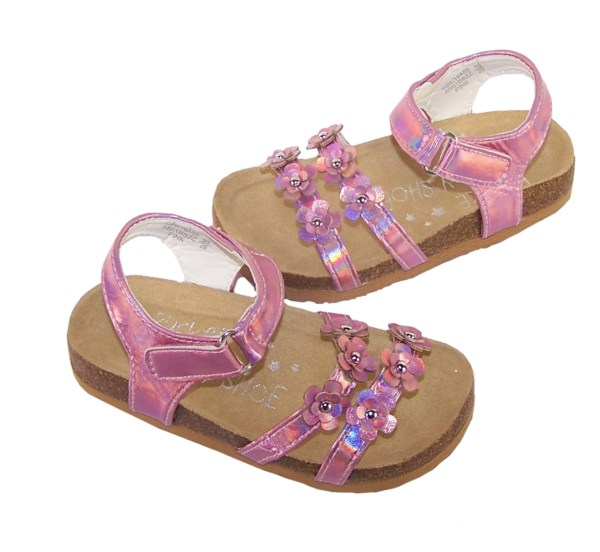 Young girls pink footbed sandals-5488