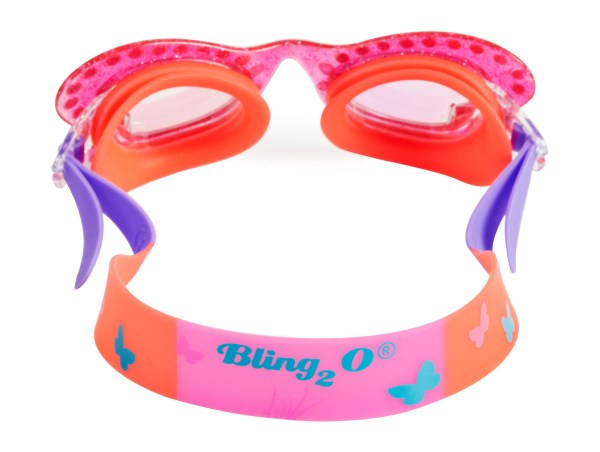Girls coral pink butterfly shaped fun swimming goggles-6047