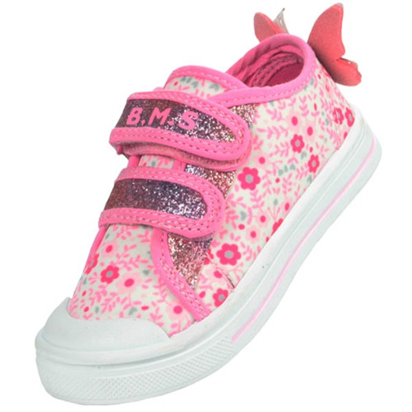 Girls pink and white sparkly butterfly trainers-0
