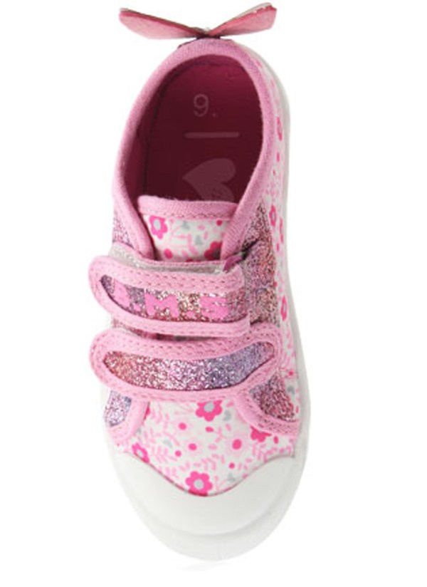 Girls pink and white sparkly butterfly trainers-5482