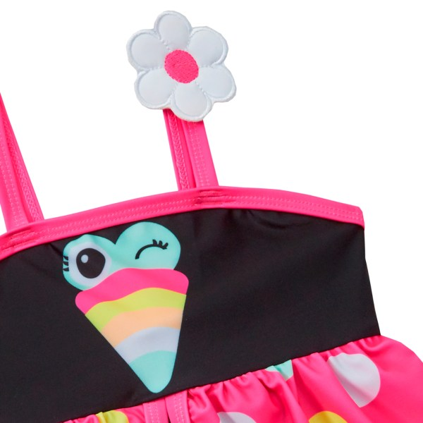 Girls black and pink novelty bird swimming costume-5676