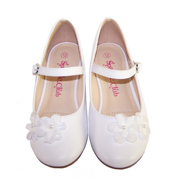 Girls white low heeled communion and party shoes with flower trim -6352