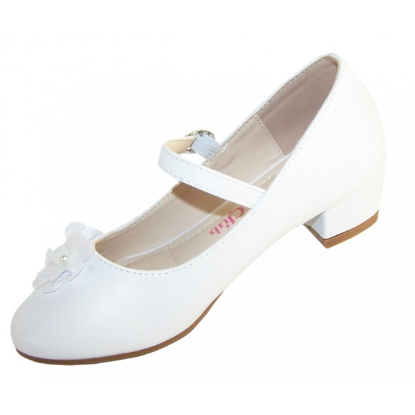 Girls white low heeled communion and party shoes with flower trim -6351
