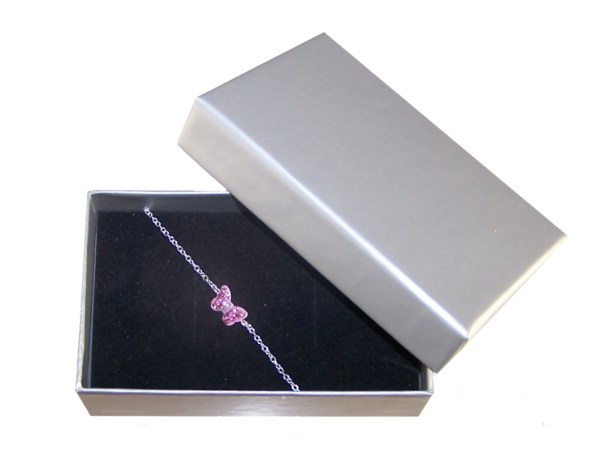Girls 925 sterling silver bracelet with a pink butterfly-5755
