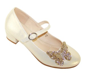 Girls pale gold heeled party shoes with glitter butterfly
