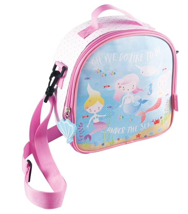 Girls pink and blue mermaid insulated lunch bag-0
