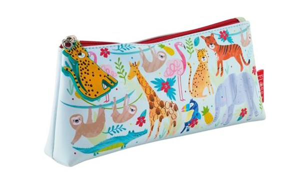 Girls pale blue jungle animals pencil case-0