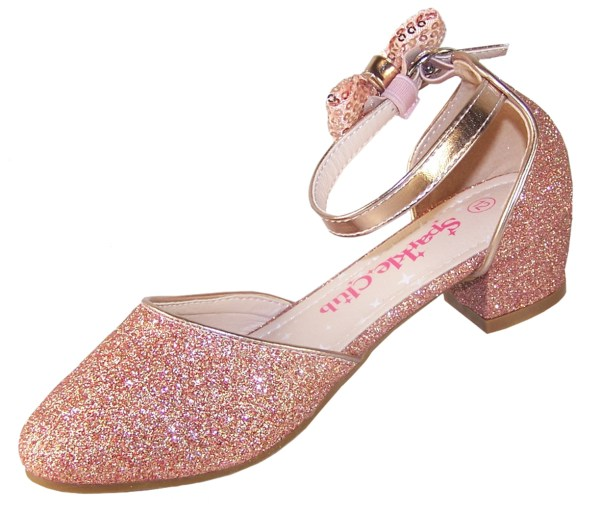 Girls rose gold sparkly heeled party shoes-5801