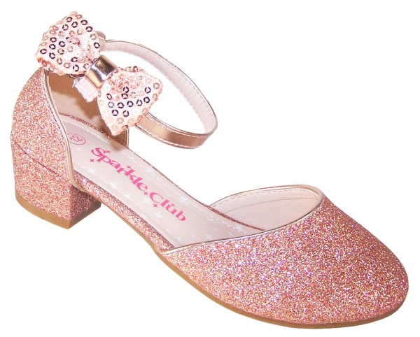 Girls rose gold sparkly heeled party shoes-0