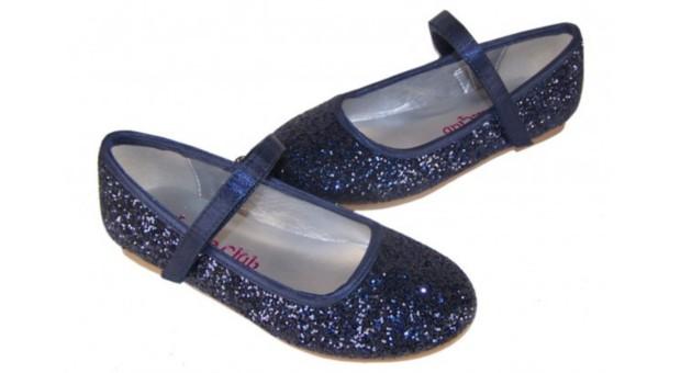 girls dark blue sparkly glitter ballerina party shoes