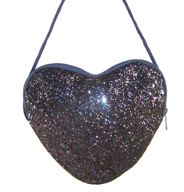 Girls dark blue glitter heart over body bag-5819