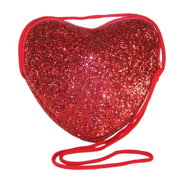 Girls red glitter heart over body bag-0