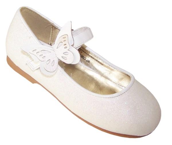Girls ivory sparkly flower girl ballerina shoes-5809