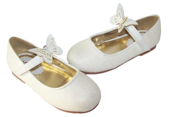 Girls ivory sparkly flower girl ballerina shoes-5808