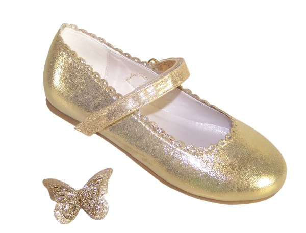 Girls gold shimmer ballerina party shoes-5846