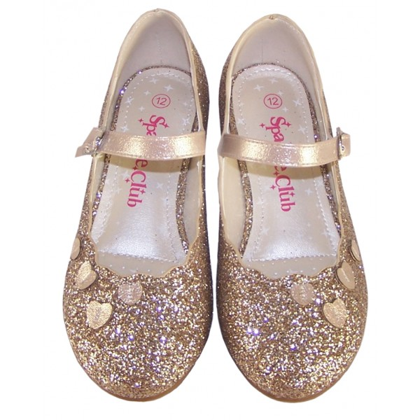 Girls gold sparkly heeled party shoes-6381