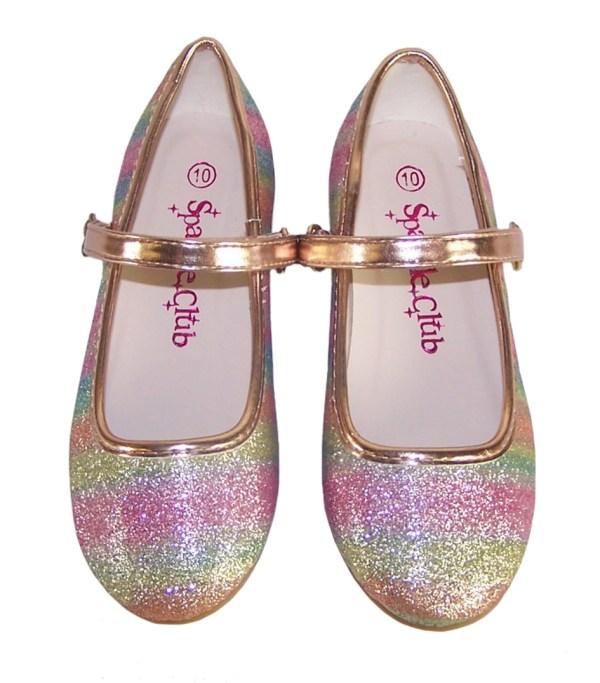 Girls sparkly rainbow coloured ballerina shoes -5865
