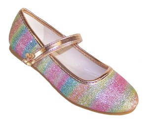 Girls sparkly rainbow coloured ballerina shoes