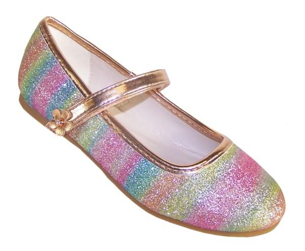 Girls sparkly rainbow coloured ballerina shoes -0