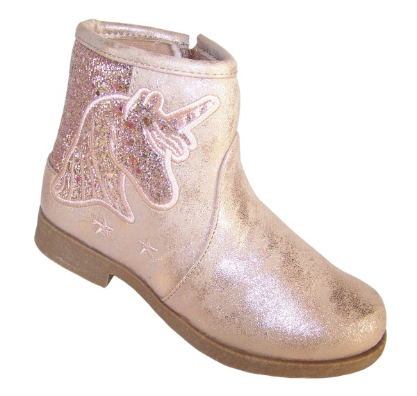 Girls sparkly pink Unicorn ankle boots-0
