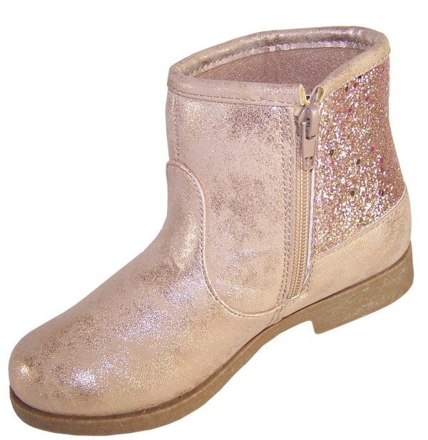 Girls sparkly pink Unicorn ankle boots-5910