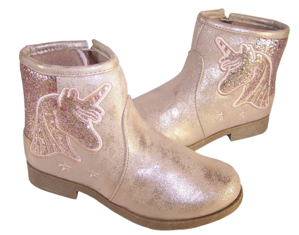 Girls sparkly pink Unicorn ankle boots-5909