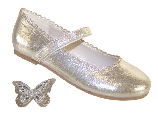 Girls silver shimmer ballerina party shoes-5859