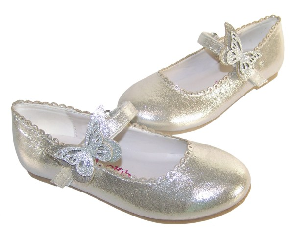 Girls silver shimmer ballerina party shoes-5863
