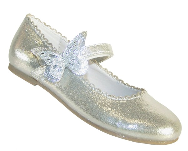 Girls silver shimmer ballerina party shoes-0