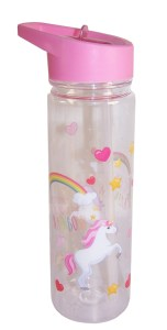 Childrens pink unicorn water bottle