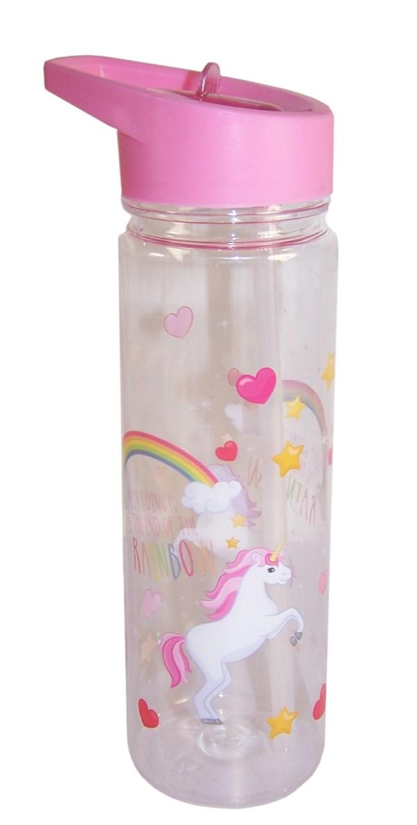 Childrens pink unicorn water bottle-0