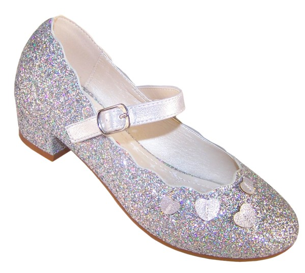 Girls silver sparkly heeled party shoes-0