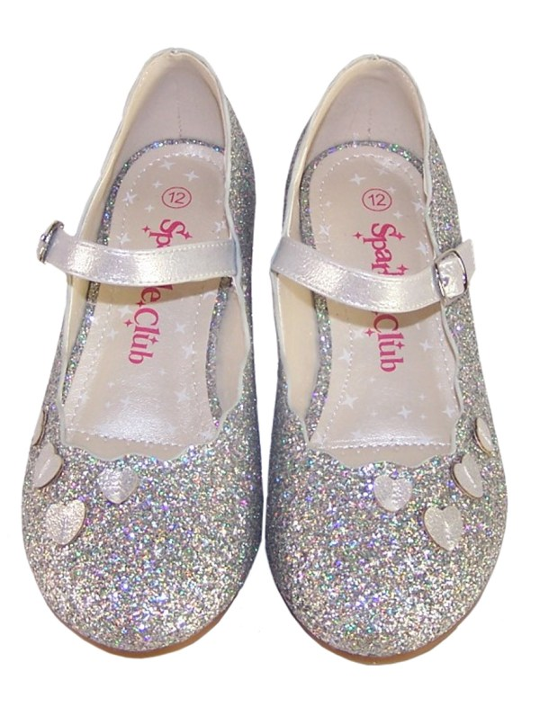 Girls silver sparkly heeled party shoes-5924
